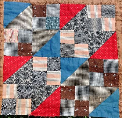1880-1910 – Masculine Autumnal Jacobs Ladder Vintage Antique Quilt Top - Neons++