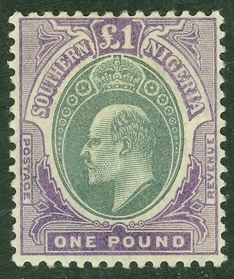 SG 32a Southern Nigeria 1904 MCA £1 green & violet on chalky paper...