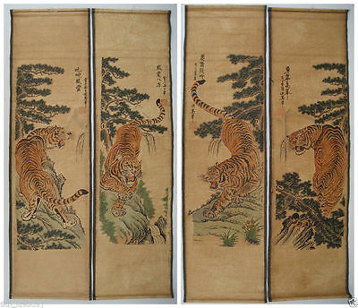 Chinese painting scroll Tiger Jiang Tingxi 4 tigers Antique paintings