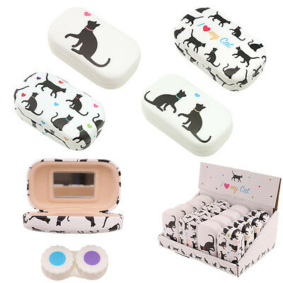 Black Cat Contact Lenses Mirrored Storage Case Holder Pet Themed Gift Jewellery