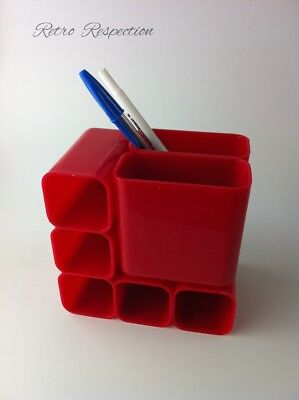 RETRO Desk Organiser/Pen Holder - Hong Kong Made - Red Plastic