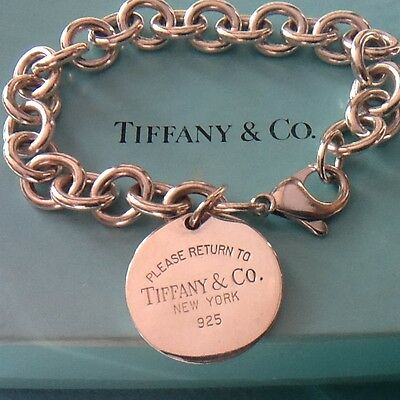 Women's Return to Tiffany Round Tag Bracelet Sterling Silver. 100% Genuine. Vgc.