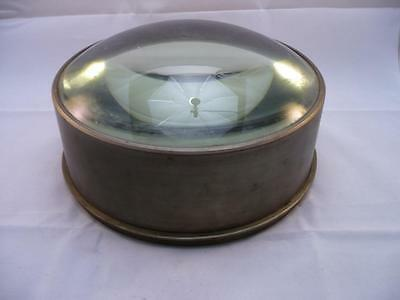 """Very large brass  glass magnifying lens, possibly off a telescope. 8"""" dia"""