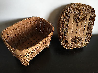 Vintage Basket, Sweetgrass, Grass, Straw, Native American Indian, Covered