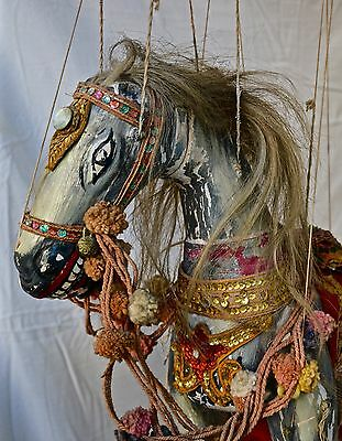 Antique Burmese Stage Marionette- Carved Wood -Large ornate HORSE
