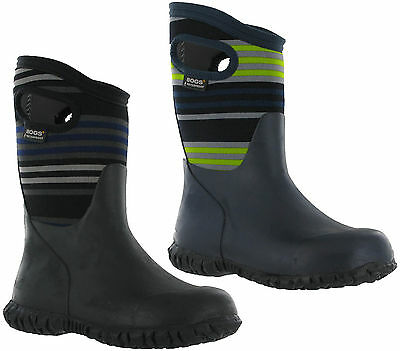 Bogs Durham Stripes Boys Wellingtons Waterproof Neoprene Durafresh -15 Boots