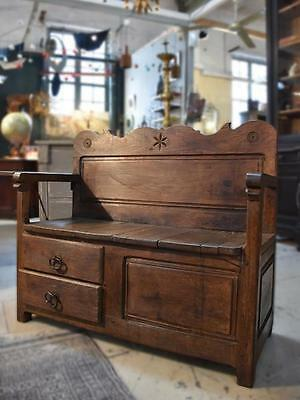 Early 19th century French chestnut bench seat with storage - inglenook