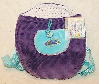 Purple & Turquoise Webkinz Plush Pet Carrier backpack Unused Feature code