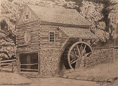 Drawing of Log Cabin and grist mill, Pencil, Graphite, prints