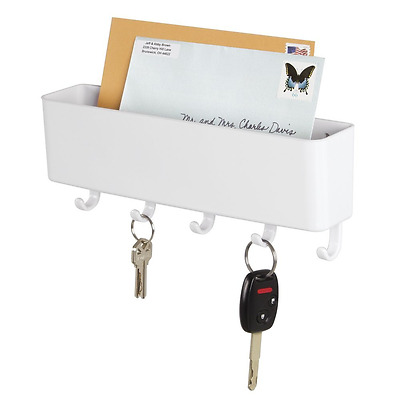 mDesign Mail, Letter Holder, Key Rack Organizer for Entryway, Kitchen - Wall Mou