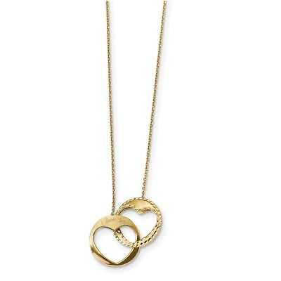 14k Yellow Gold Polished Double Heart I Love You 16 inch with 1 inch ext. Neckla