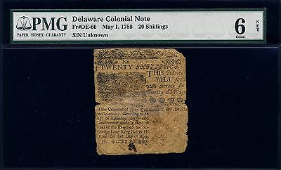 Delaware Colonial Currency - May 1, 1758 - 20 Shillings - PCGS 6 Net