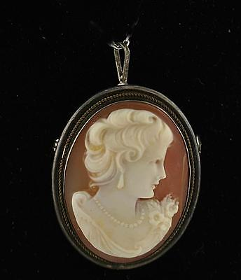 Estate 800 Silver Natural Shell on Carnelian Cameo Brooch Pendant Vintage