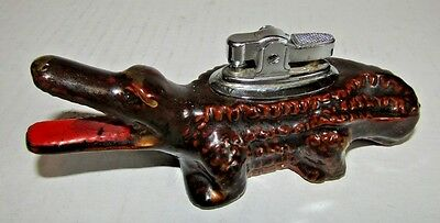 Vintage Table Lighter Ceramic Alligator