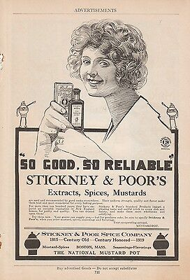 1919 Stickney & Poor Spice Co Boston MA Ad: So Good So Reliable Extracts Spices