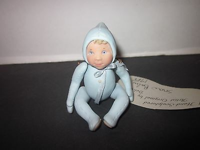 Delight Sporre 1988  Hand Sculpted Polymer Snow Baby 3 1/2 in Blue Outfit Look!