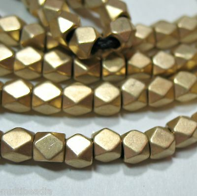 """Bright GP Gold Plated 4mm Faceted Square Nugget Beads 8.5"""" 2mm Large Bead Hole"""