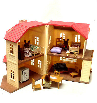 SYLVANIAN FAMILIES Large House Playset with furniture & toy figures set, NICE