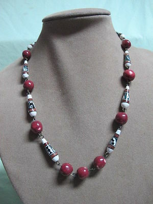 So American  Necklace w/ Hand Painted Beads