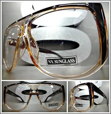 OVERSIZED VINTAGE RETRO Style Clear Lens EYE GLASSES Transparent & Brown Frame