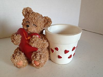 Valentine Teddy Bear Holding Red Heart With Garden Pot Attached