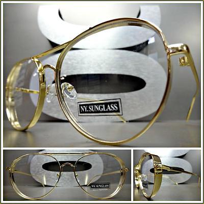 CLASSIC VINTAGE RETRO BLINDER Style Clear Lens EYE GLASSES Gold Fashion Frame