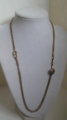 Antique Late Victorian GF Watch Chain Garnet or Ruby Slide AM Double Signed