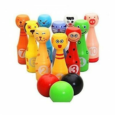 EchoAcc® Cute Wooden Bowling Pin Set Wooden Bowling Ball Game with 10 Different