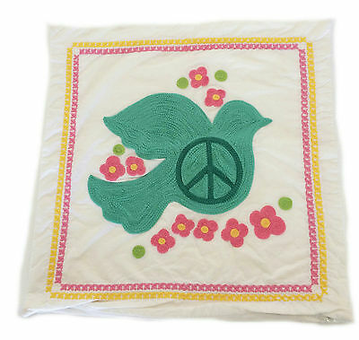Pottery Barn PB Teen Dove of Peace White 18x18 100% Organic Cotton Pillow Cover