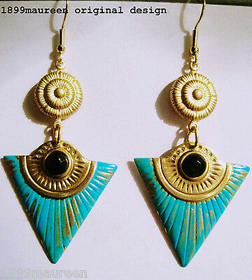 Egyptian Revival Art Deco earrings vintage style turquoise gold drop statement