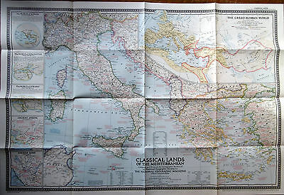 1949 National Geographic Classical Lands of the Mediterranean Wall Map