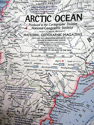 October 1971 National Geographic Magazine Map of Arctic Ocean and Ocean Floor