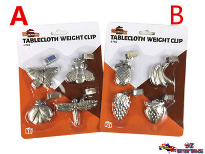 Pack of 4 Silver Tablecloth Table Cloth Weight Clip Insect or Fruit KD02244