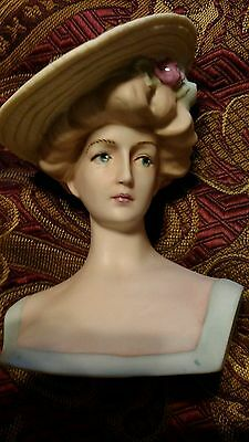 Antique Reproduction Doll Head. Parian Emma Clear's Gibson Girl Bust. Victorian