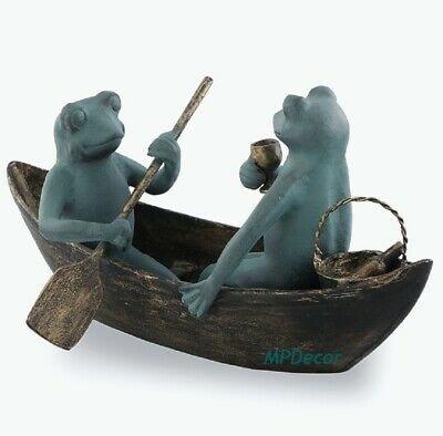Rowboat Picnic Frogs Wine Drinking Metal Boat Frog Garden Pond Sculpture Statue