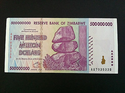 2008 Unc 500 Million Dollar Reserve Bank Of Zimbabwe Currency Banknote Aa