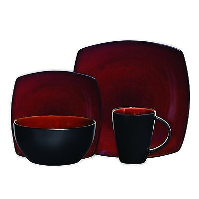 Gibson Home Soho Lounge Square 16-Piece Dinnerware Set Red Service for 4