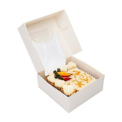 Restaurantware Cafe Vision Square White Take Out Container with Window (200 C...