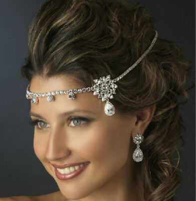 UK Silver Wedding Bridal Headpiece Crystal Rhinestone Party Jewellery Head Chain