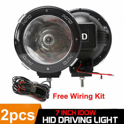 2 x 7INCH 100W DRIVING LIGHTS HID XENON SPOT 4X4 OFF-ROAD UTE SUV w/ Wiring Kit