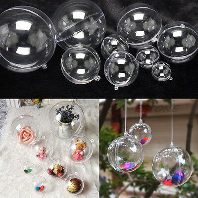 10pcs Ball Christmas Baubles Clear Fillable Xmas Tree Decoration Ornaments  DIY - 10PCS BALL CHRISTMAS Baubles Clear Fillable Xmas Tree Decoration