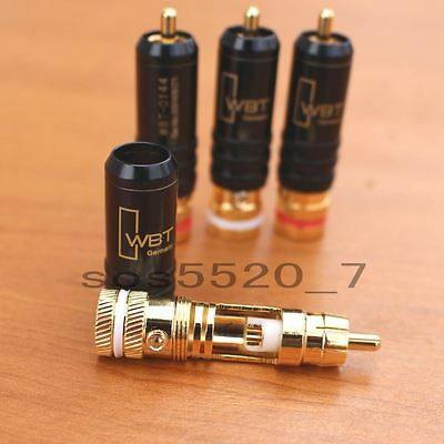 WBT Gold Plated RCA Male Soldering Audio Video Plug Connectors Locking Red&White
