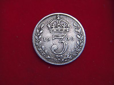 1908 Edward V11  Silver Threepence  From My Collection [H64]
