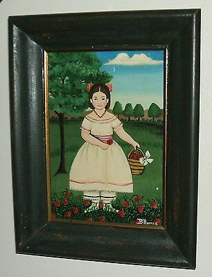 Folk Art Original Oil Painting of Girl Dressed in 1850's style, Signed B.Thomas