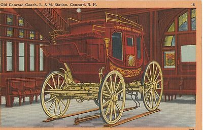 Postcard, Old Concord Coach, B&m Station, Concord, New Hampshire