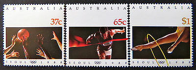 Australian Decimal Stamps:1988 24th Olympic Games - Seoul - Set of 3 MNH