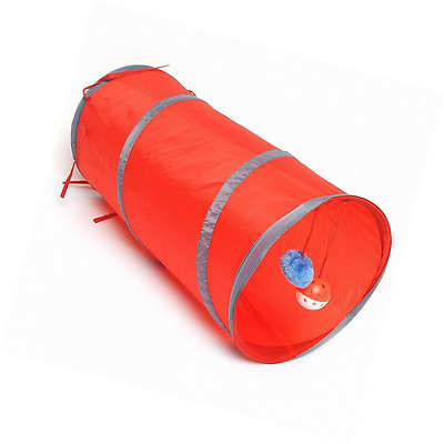 Pet Cat Kitten Dogs Foldable Collapsible Tunnel Dangling Bell Activity Play Toy