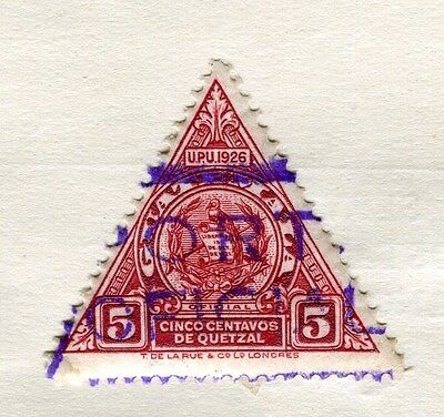 GUATEMALA;   1926 early Official Triangular value 5c. used