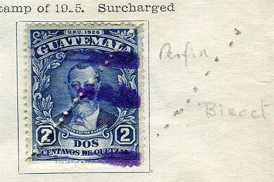 GUATEMALA;  1929 early PERFIN Bisected issue 2c. used value