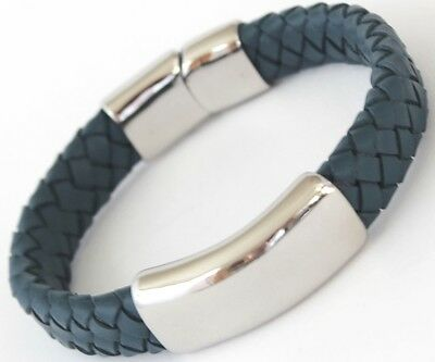 OXFORD Mens Blue Leather & Stainless Steel Bracelet, Engraved, Personalised